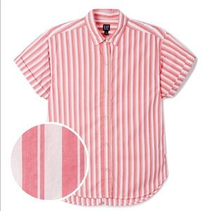 Gap Button down blouse pink and white stripes